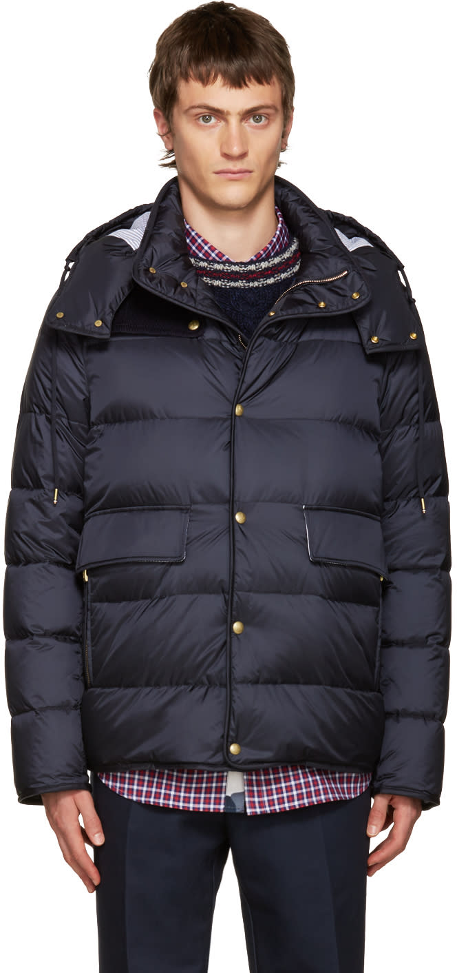 Moncler Gamme Bleu Blue Hooded Down Jacket