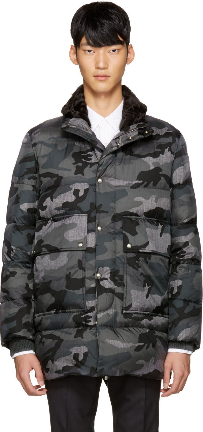 Moncler Gamme Bleu Grey Quilted Down Camo Jacket