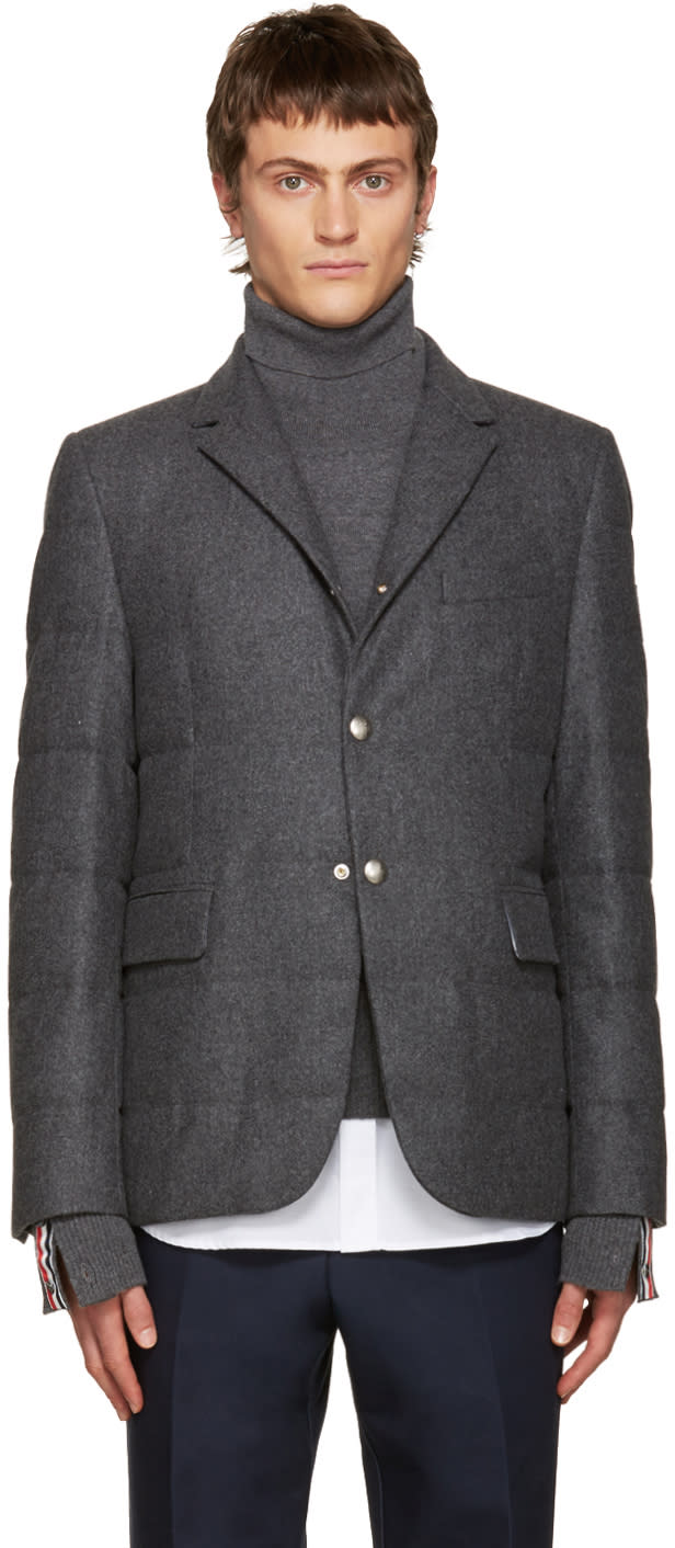 Moncler Gamme Bleu Grey Wool Quilted Down Blazer