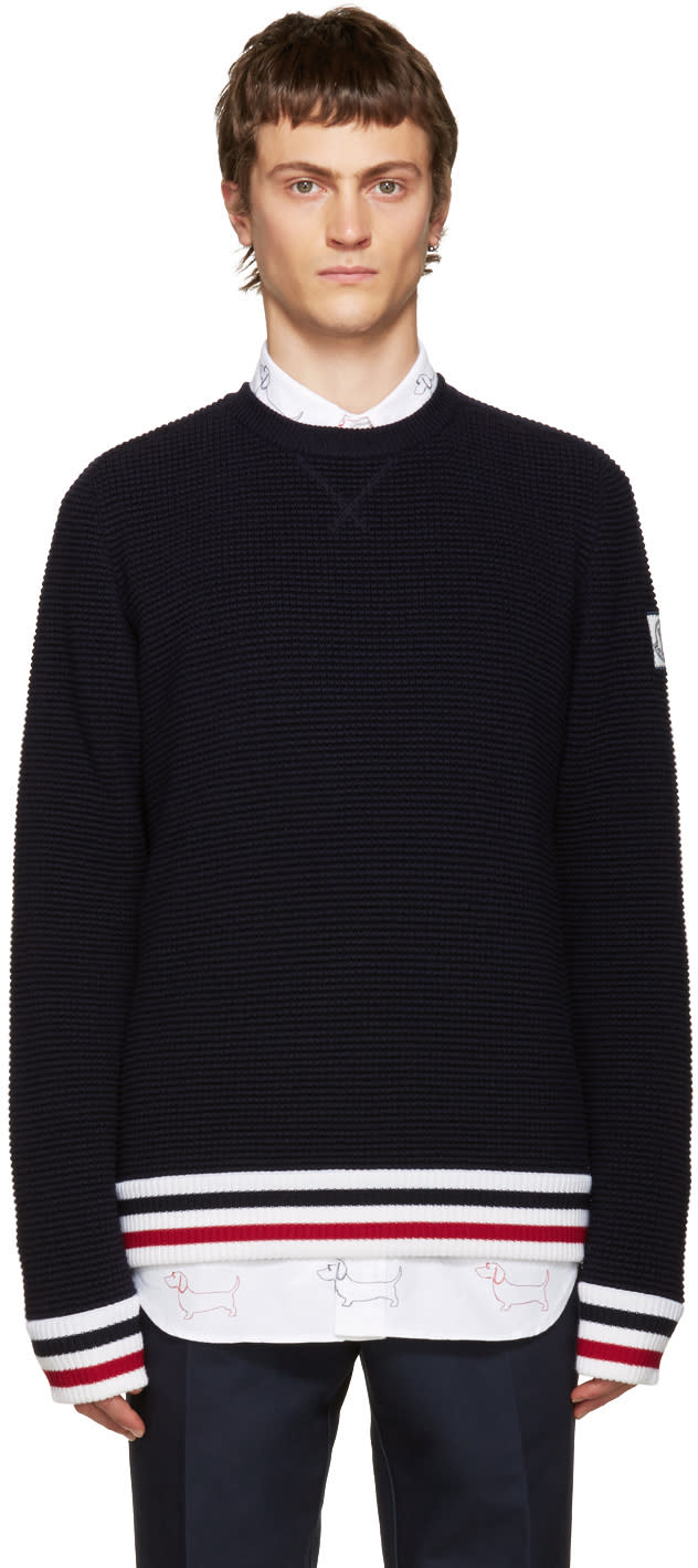 Moncler Gamme Bleu Navy Striped Sweater