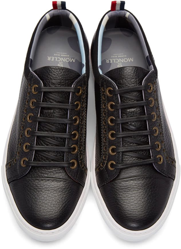 Moncler Gamme Bleu Black Leather Sneakers