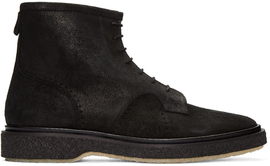 Adieu Black Waxed Suede Type 22 Boots