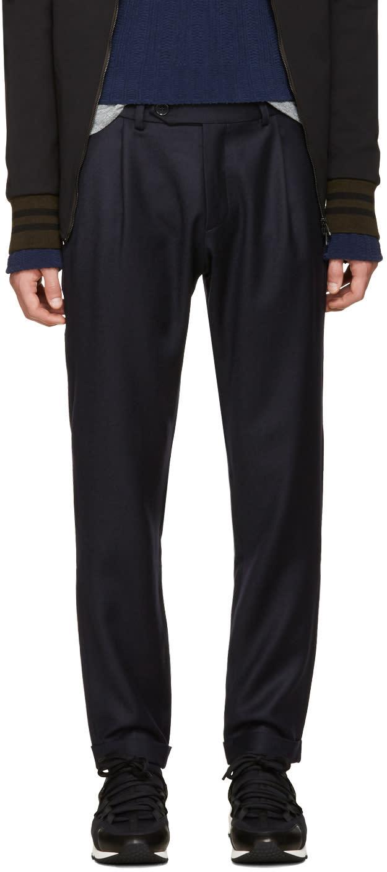 Giuliano Fujiwara Navy Wool Loose Trousers