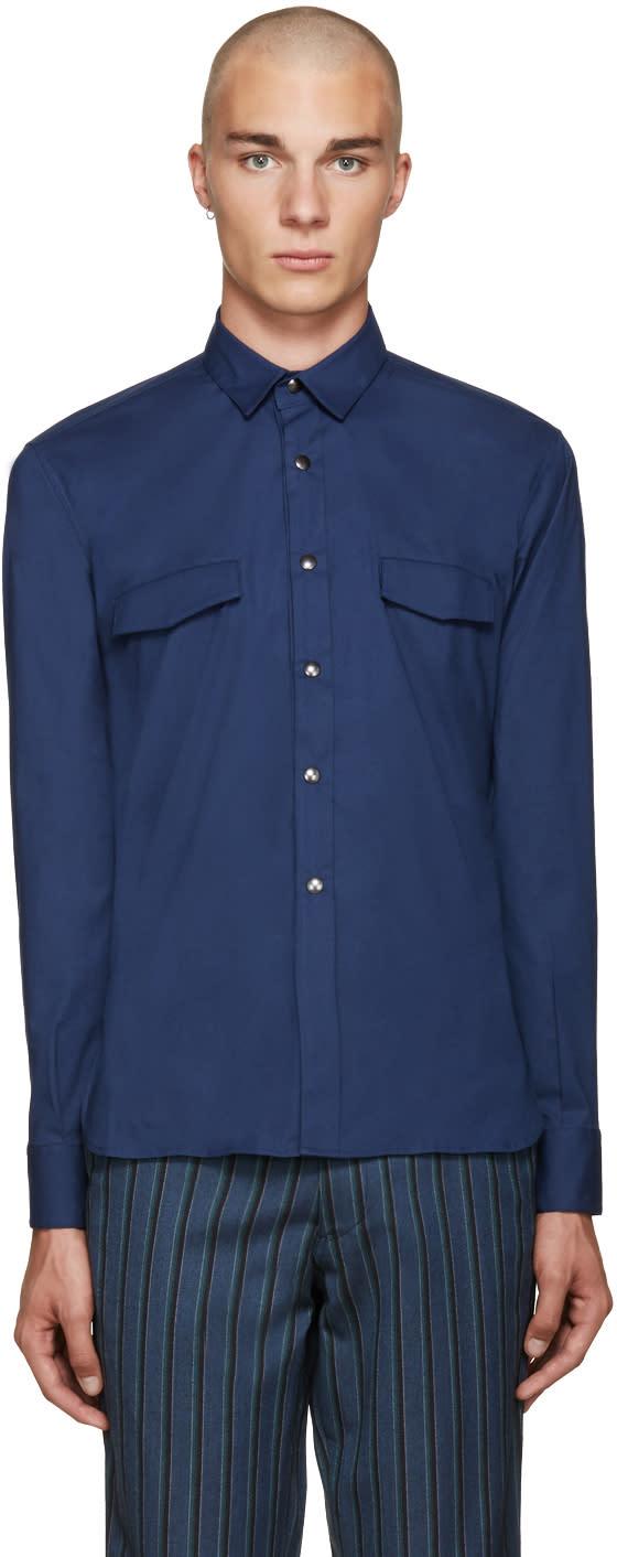 Giuliano Fujiwara Navy Pockets Shirt