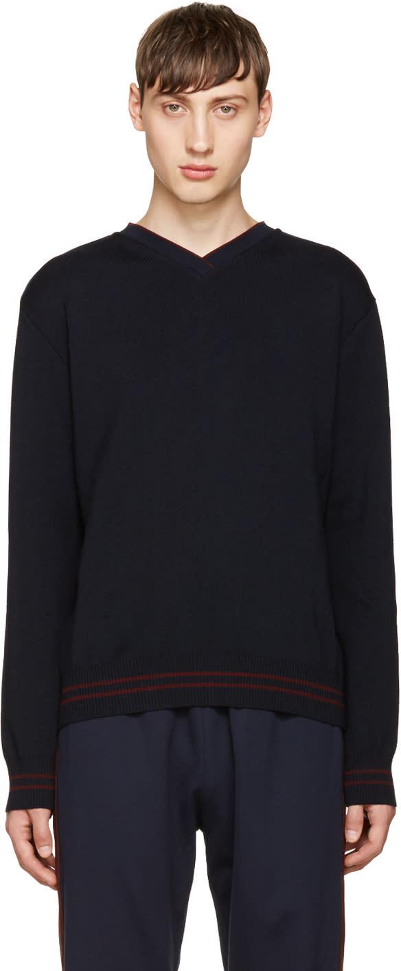 Giuliano Fujiwara Navy Merino V-neck Sweater