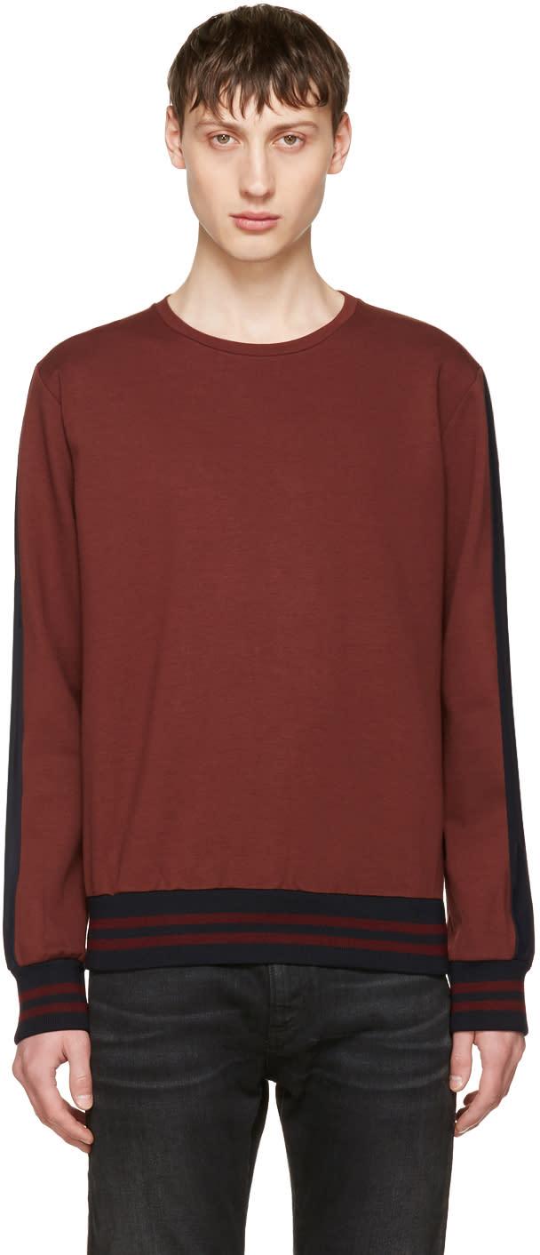Image of Giuliano Fujiwara Burgundy Striped Sleeve Sweatshirt