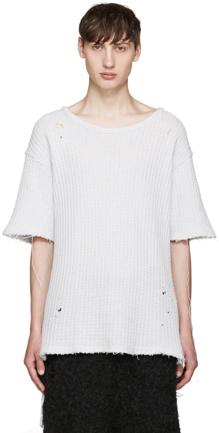 Miharayasuhiro Grey Waffle Knit Damaged T-shirt