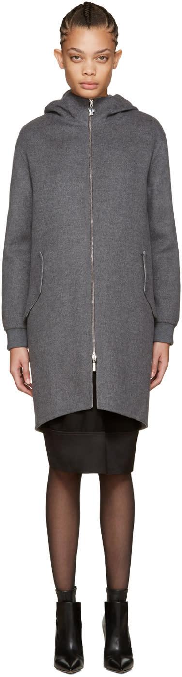 Moncler Gamme Rouge Grey Wool Rosier Coat