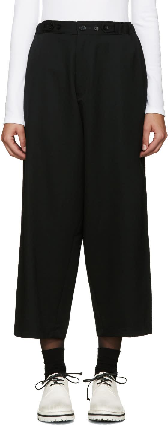 Yohji Yamamoto Black Cinch Tabs Wide-leg Trousers