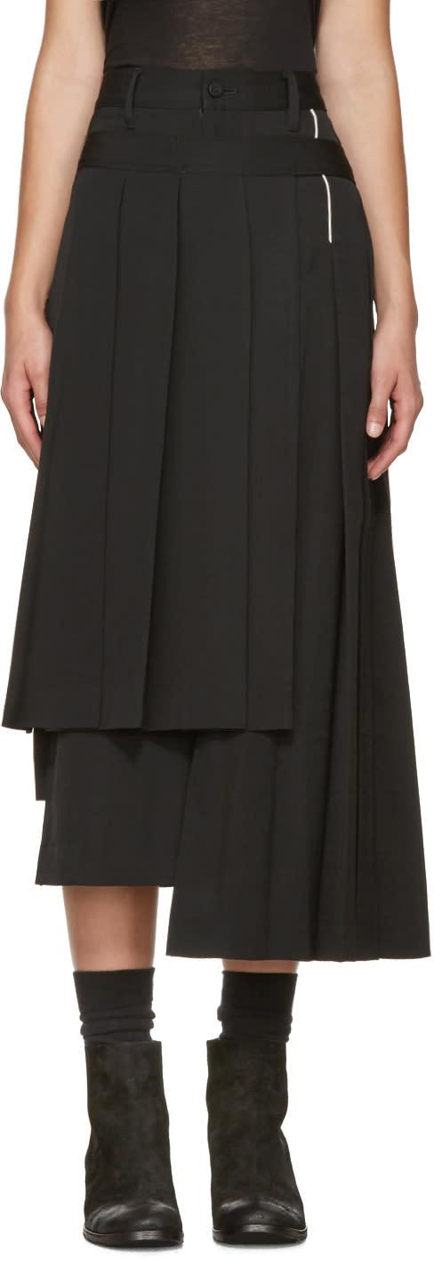 Yohji Yamamoto Black Pleated Wrap Skirt