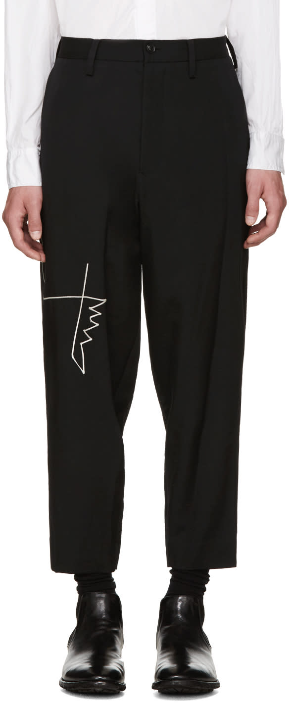 Yohji Yamamoto Black Embroidered Trousers