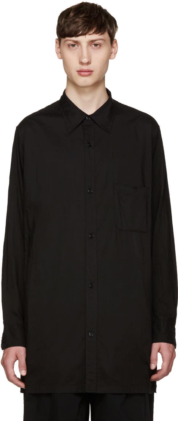 Yohji Yamamoto Black Buttoned Back Shirt