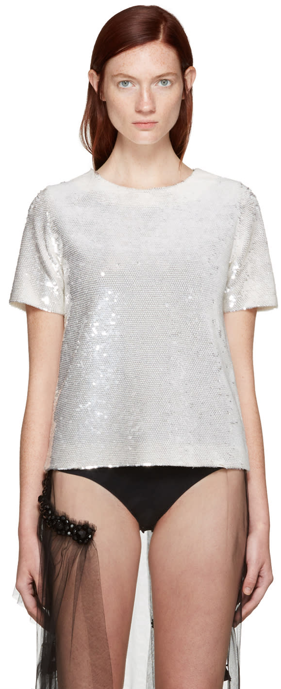 Ashish Ssense Exclusive Ivory Sequin T-shirt