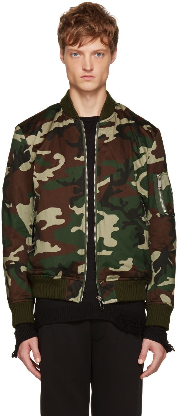 Christian Dada Green Camo Araki Patch Bomber Jacket