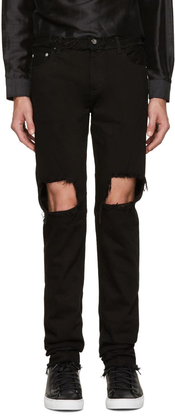 Christian Dada Black Distressed Skinny Jeans