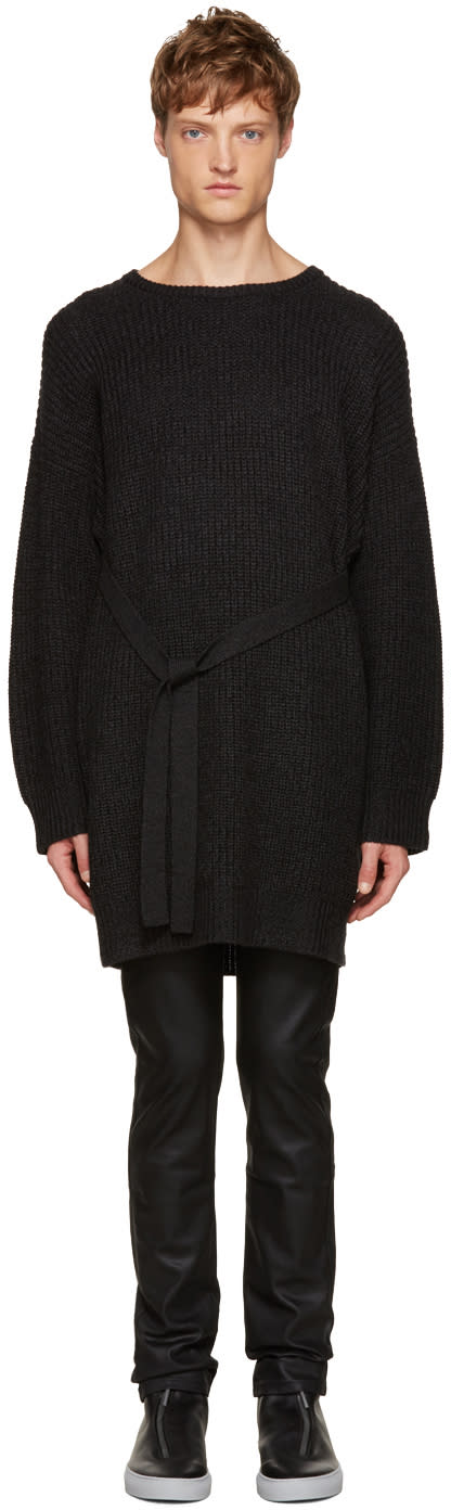 Christian Dada Black Wool Ribbed Sweater