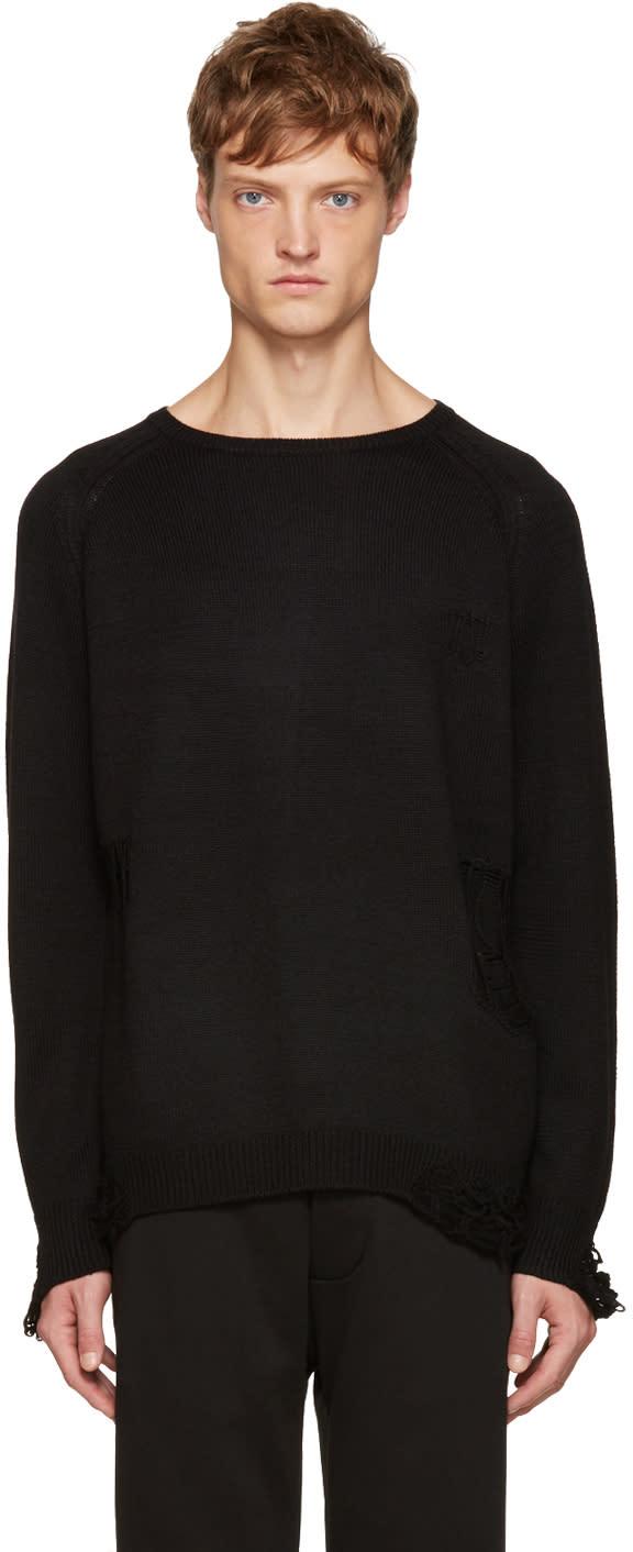 Christian Dada Black Wool Destroyed Sweater