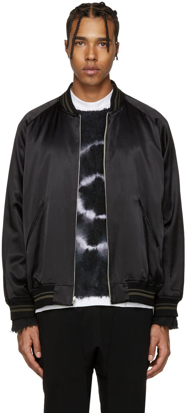 Lad Musician Reversible Black Souvenir Bomber Jacket