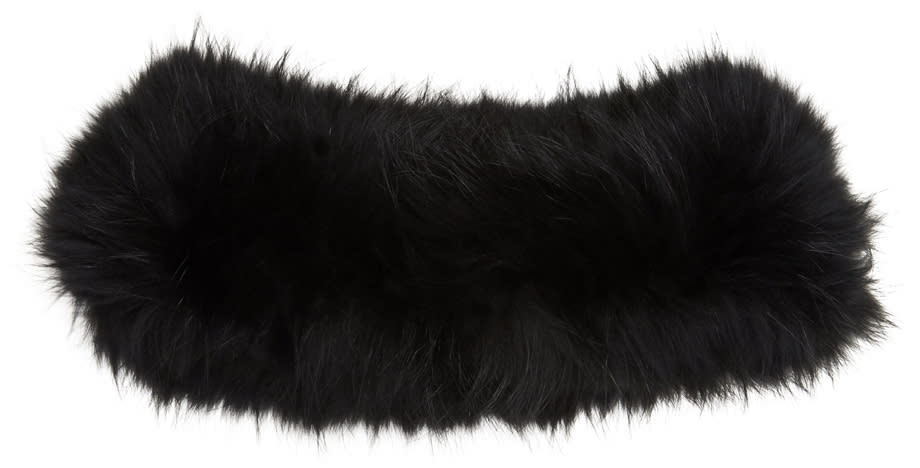 Yves Salomon Black Fur Collar