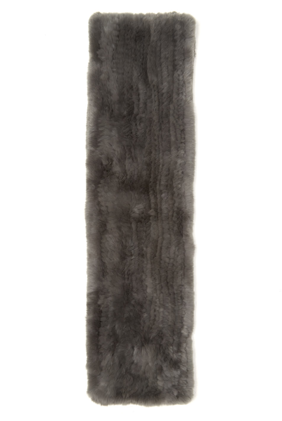 Yves Salomon Grey Knit Fur Scarf