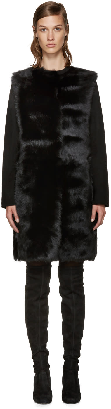 Yves Salomon Reversible Black Shearling Coat