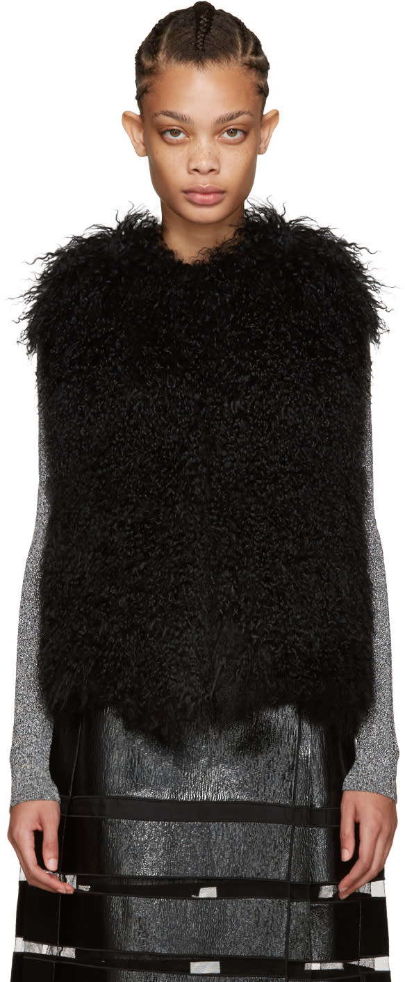 Yves Salomon Black Lamb Fur Vest