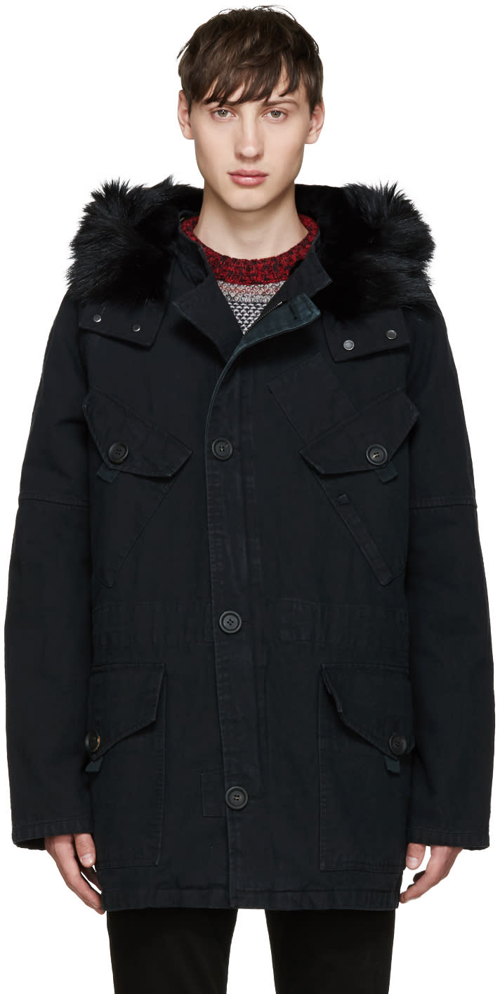 Yves Salomon Black Fur Military Parka