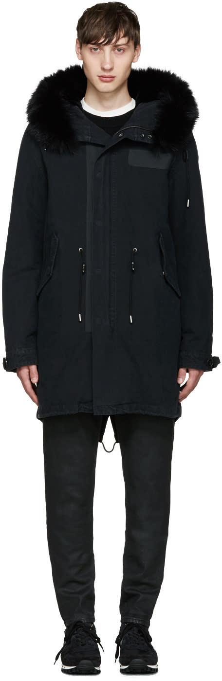 Yves Salomon Black Fur Fishtail Parka