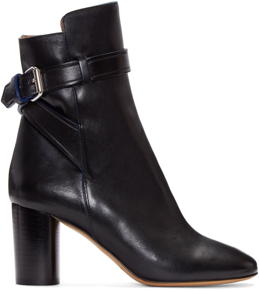 Isabel Marant Black Leather Reaves Heeled Boots