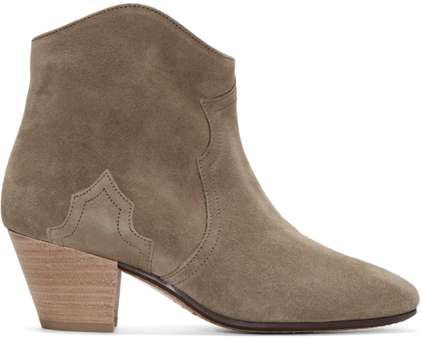 Isabel Marant Taupe Suede Dicker Ankle Boots