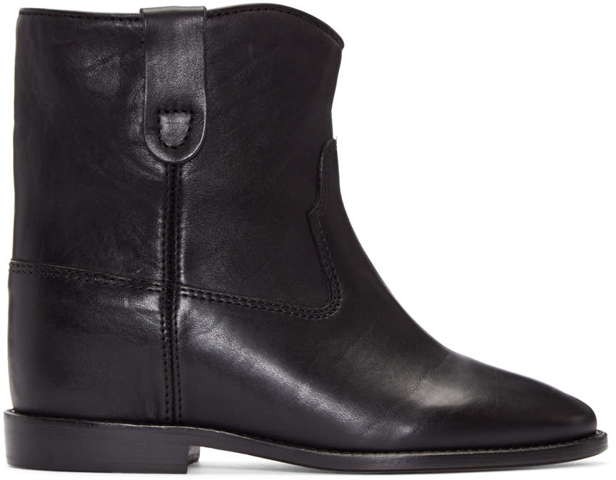 Isabel Marant Black Leather Cluster Boots