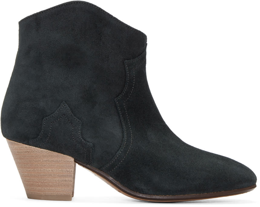 Isabel Marant Black Suede Dicker Ankle Boots