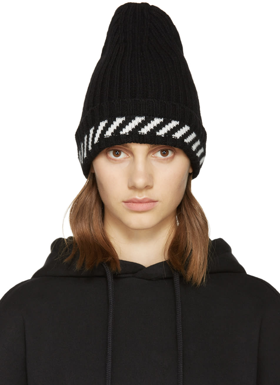 Off-white Black Diagonals Beanie