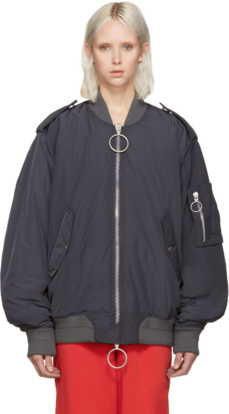 Off-white Grey Nylon Bomber Jacket