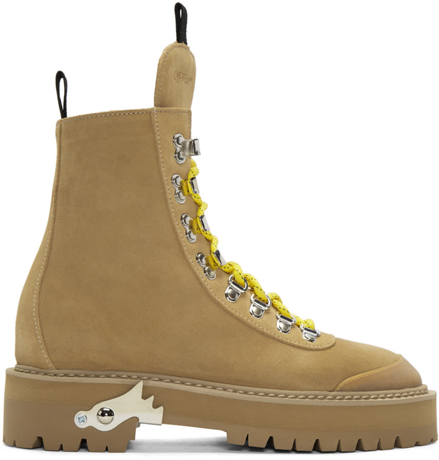 Off-white Brown Suede Hiking Boots