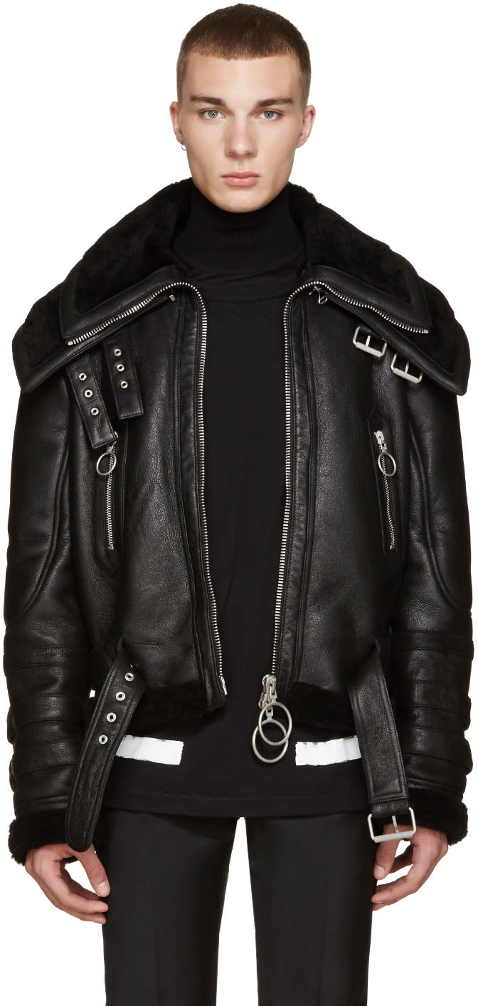 Off-white Black Shearling Double-collar Jacket