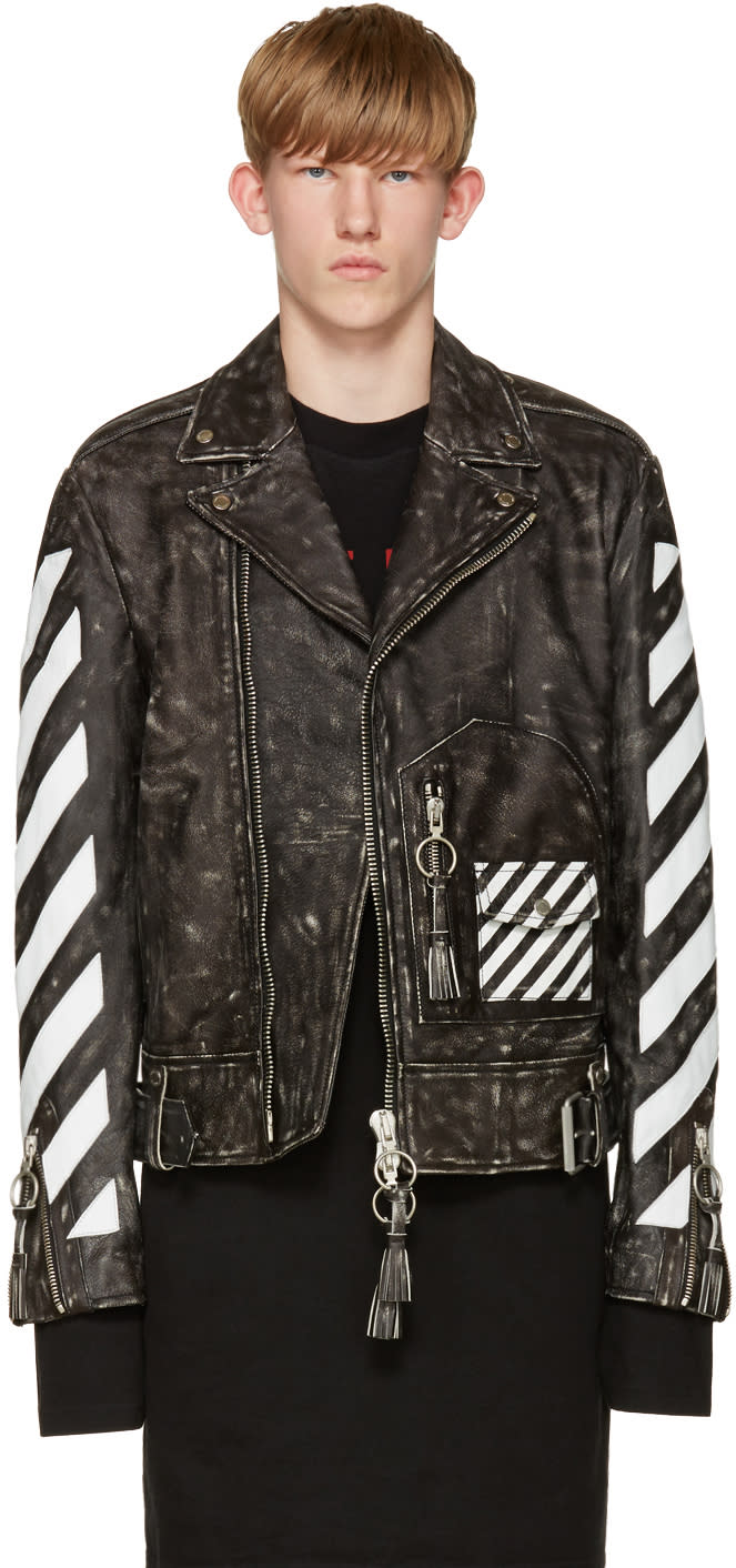 Off-white Black and White Leather Biker Jacket