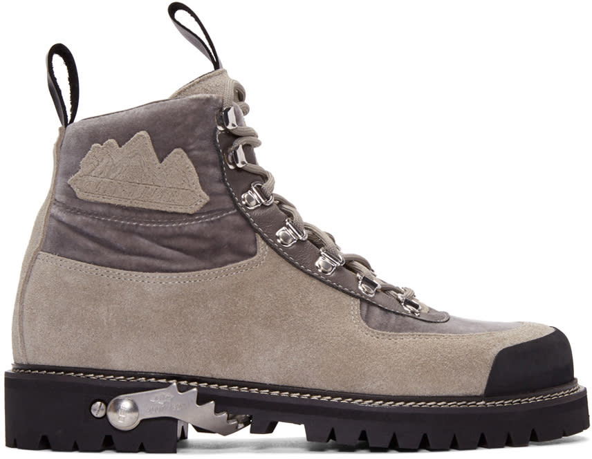 Off-white Grey Suede and Velvet Trimmed Hiking Boots