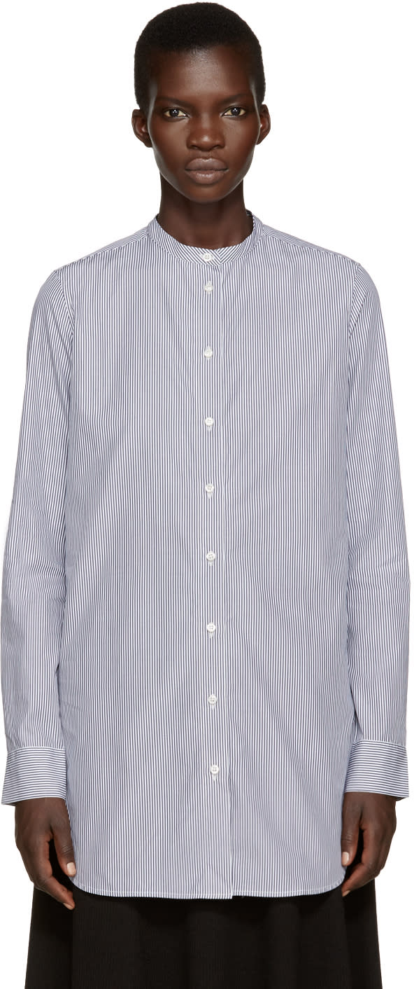 Studio Nicholson Navy and White Klein Standard Shirt
