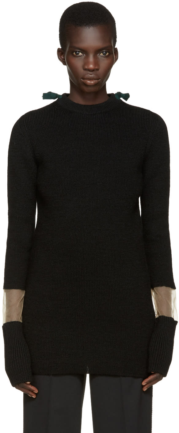 Toga Black Tie Collar Sweater