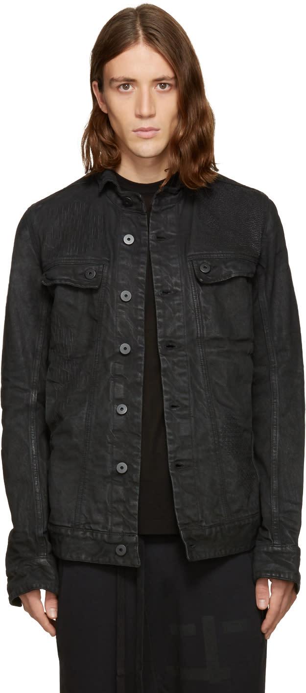 11 By Boris Bidjan Saberi Black Embroidered Denim Jacket