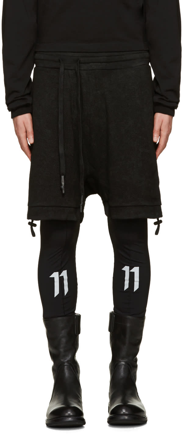 11 By Boris Bidjan Saberi Black Asymmetric Lounge Shorts