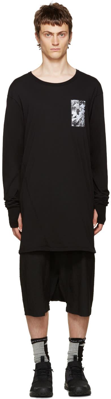 11 By Boris Bidjan Saberi Black Asymmetric Back Print T-shirt