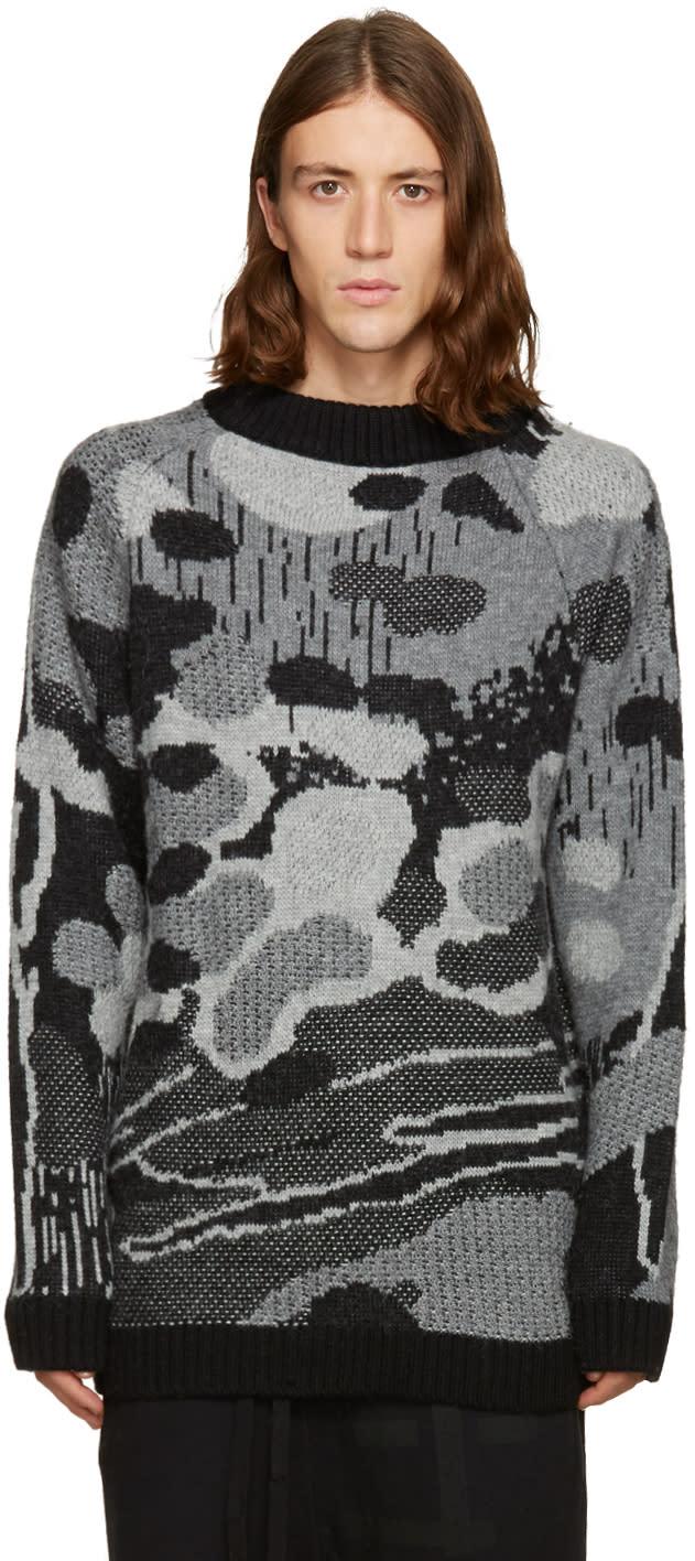 11 By Boris Bidjan Saberi Black and Grey Jacquard Sweater