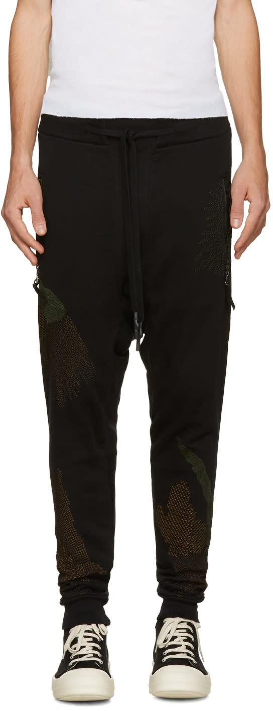 11 By Boris Bidjan Saberi Black Embroidered Drop Crotch Lounge Pants
