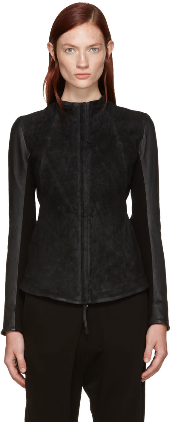Image of Boris Bidjan Saberi Black Brushed Suede Jacket