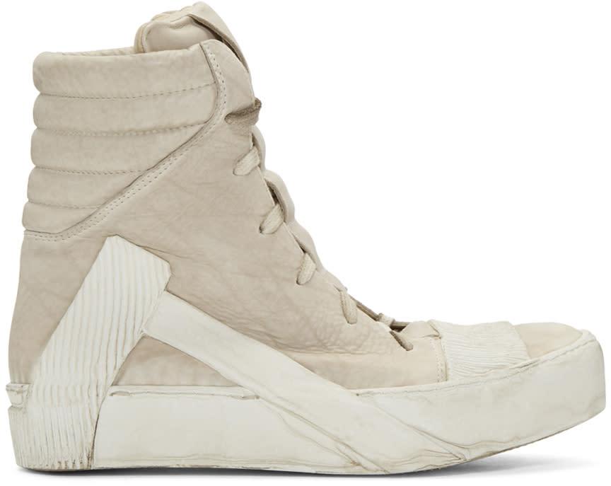 Boris Bidjan Saberi Beige Distressed High-top Sneakers