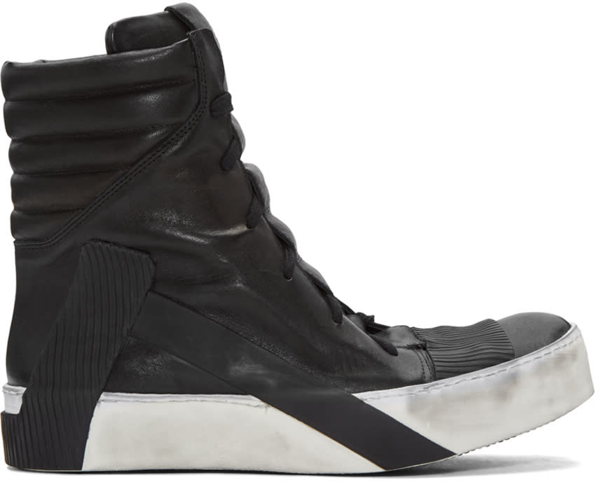 Image of Boris Bidjan Saberi Black Distressed High-top Sneakers