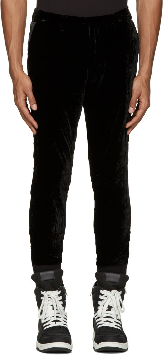 Diet Butcher Slim Skin Black Velvet Trousers