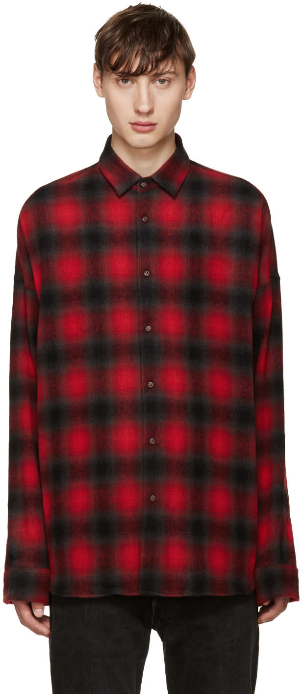 Johnlawrencesullivan Red Plaid Flannel Shirt